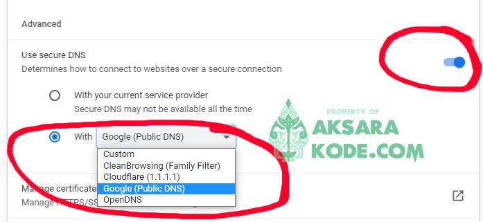 Aktifkan Google Secure DNS