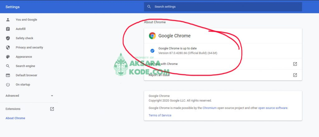 Pastikan Google Chrome Up To Date